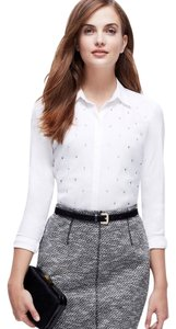 Ann Taylor Petite Embellished Top White