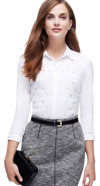 Ann Taylor Petite Embellished Button Down Top White