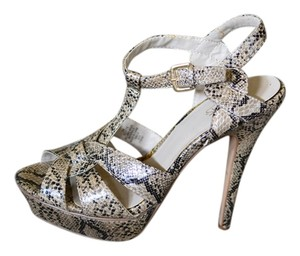 City Streets Strappy High Heels Night Out Snakeskin Pumps