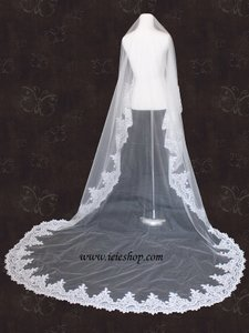 Ivory Long Cathedral Length Lace Edge Mantilla Bridal Veil