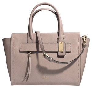 Coach Saffiano Leather Bleecker Rare Satchel in Taupe