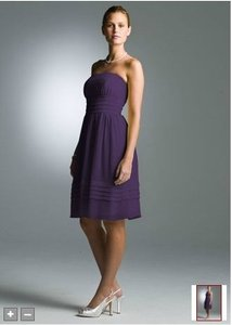 David's Bridal Purple Chiffon Short Strapless Pleated In Crinkle Bridesmaid/Mob Dress Size 12 (L)