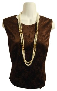 Gap Ann Taylor Brocade Sleeveless Top maroon