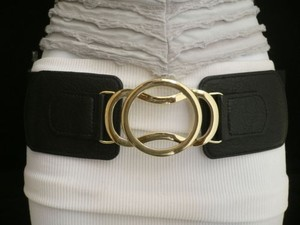 Other Women Black Belt High Waist Hip Elastic Fashion Gold Hook Buckle