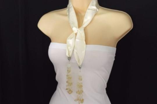Other Women Cream Off White Silk Thin Solid Scarf Fringe Beads