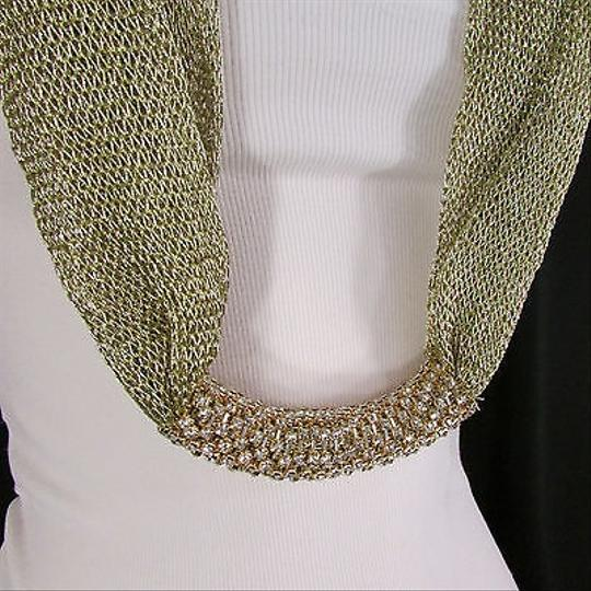 Other Women Shinny Gold Fabric Infinity Scarf Fashion Wrap Long Fringe Thin Chains
