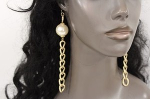 Women Long Gold Oval Metal Chain Fashion Earrings Cream Imitation Pearl Hook