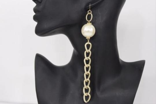 Other Women Long Gold Oval Metal Chain Fashion Earrings Cream Imitation Pearl Hook