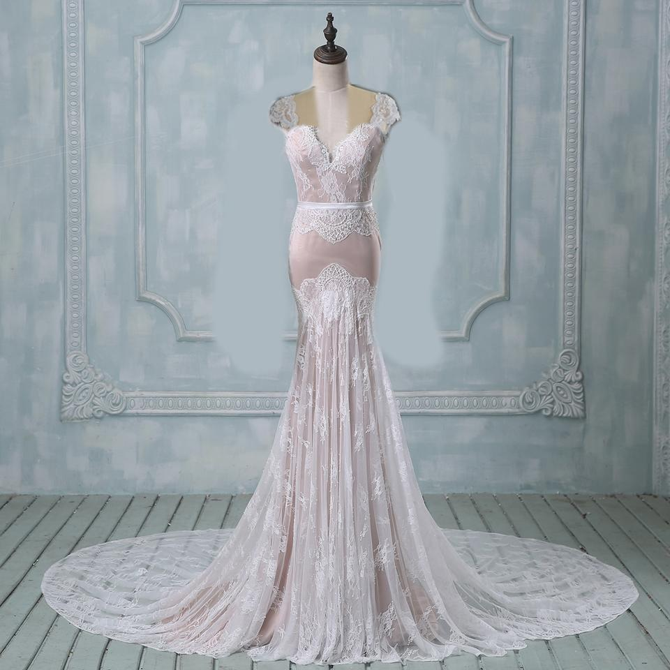 Light Champagne Lace and Satin Underlay Mermaid/Lace Modern Wedding ...