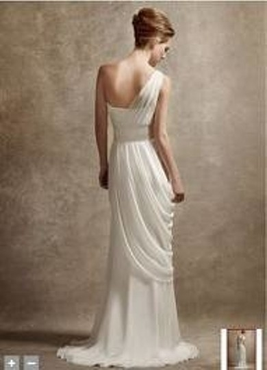 Ivory Silk One Shoulder Gown with Asymmetrically Draped Skirt Feminine Wedding Dress Size 2 (XS)