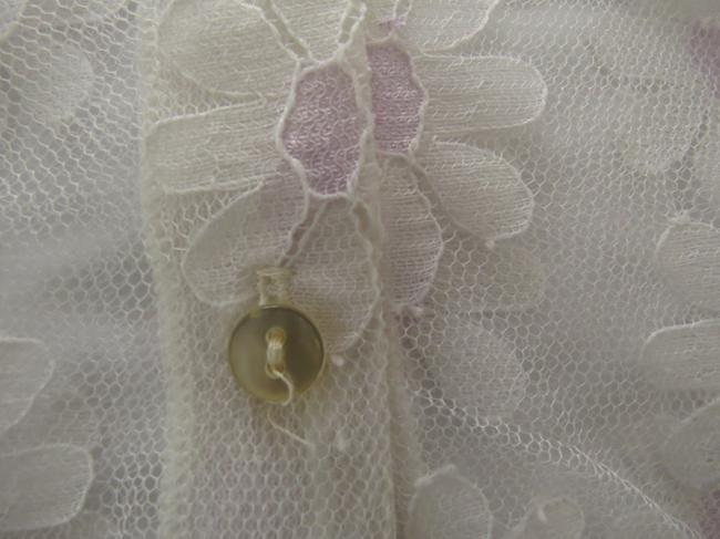 Tease Tee's Lace Vintage Daisy Cropped Sheer Delicate Feminine Girly Sweet Button Down Shirt White