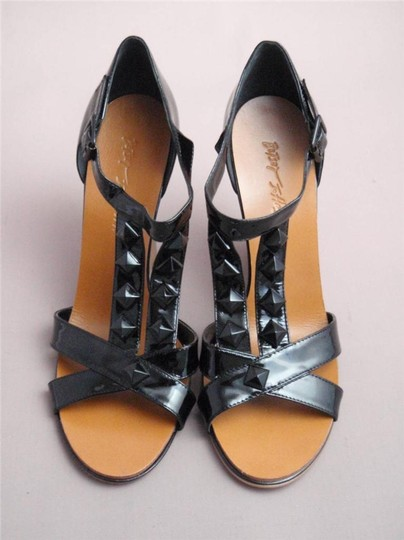 Betsey Johnson Studded Patent Leather Heels Black Wedges