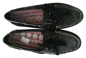 Sperry Black Glitter Flats