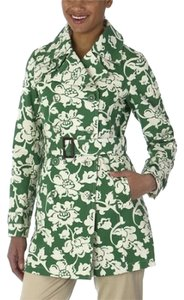 Merona Green Printed Belted Cuffed Trench Coat