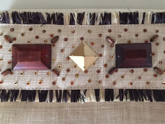 Banana Republic Summer Wood Beads Straw and Brown Clutch
