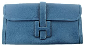 Hermès Jige Elan Jean H 29 Epsom Leather Blue Clutch