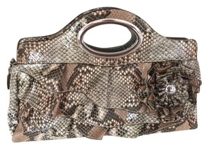 Nicole Miller Reptile Crocodile Silver Zipper Brown Gray Green Clutch