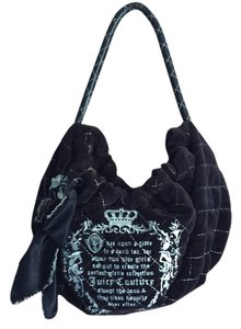 Juicy Couture Velour Shoulder Print Bow Hobo Bag