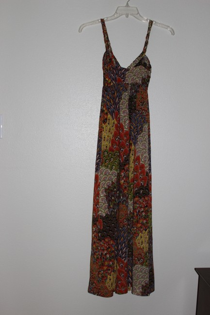 orange, red, navy, green Maxi Dress by mheartm