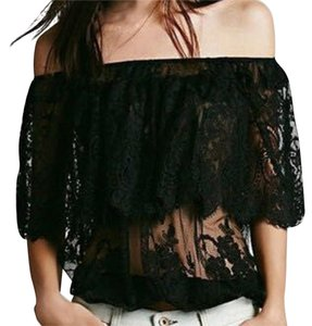 Other Lace Crochet Chiffon Shirt Off Fashion Women Top Black