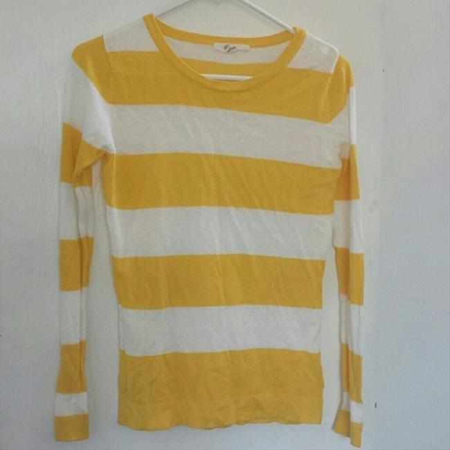 Preload https://item3.tradesy.com/images/white-yellow-stripe-long-sleeves-blouse-size-4-s-4557517-0-0.jpg?width=400&height=650