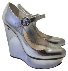 Prada Mary Jane Vintage Silver Wedges