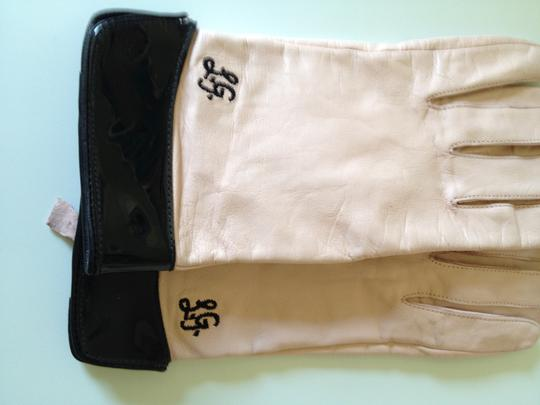 Lulu Guinness Lulu Guiness pink leather gloves with black patent leather trim