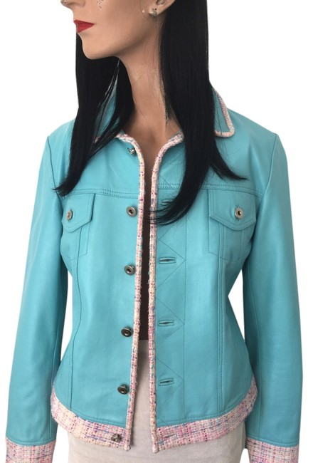 Item - Turquoise * Blue Pink Ivory Trim * Chrome Button * German Soft Goat New Jacket Size 4 (S)