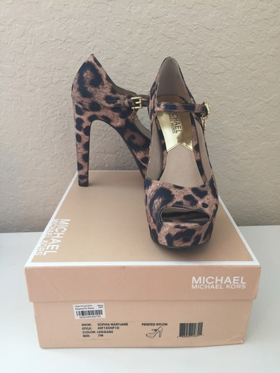 Michael Kors Mary Jane Platforms Satin Leopard Pumps