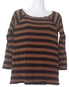 J.Crew Zipper Striped Black Brown Pullover Boathouse T Shirt Brown, Black