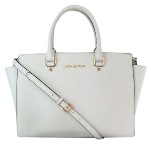 MICHAEL Michael Kors Selma Saffiano Leather Handbag Leather Satchel in White