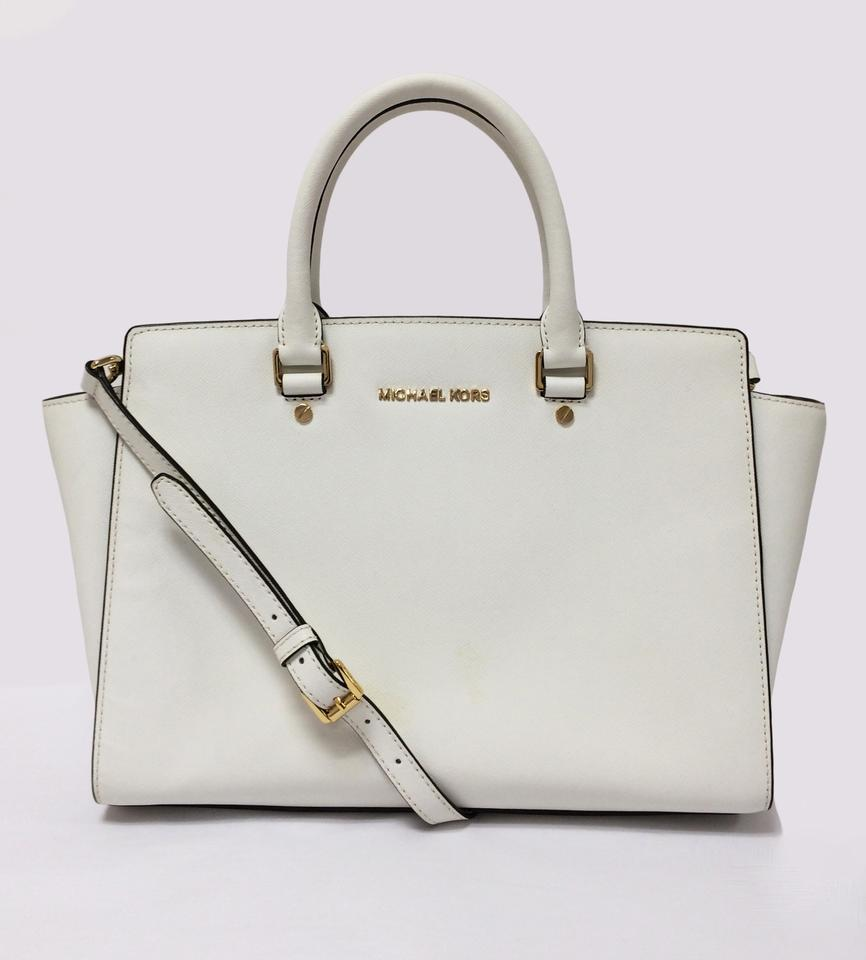 MICHAEL Michael Kors Selma Saffiano Optic White Leather Satchel 40% off retail