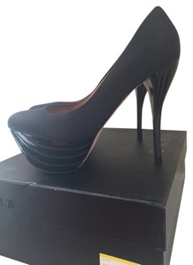 L.A.M.B. Gwen Stefani Love Angel Music Baby Satin Platform Black Pumps