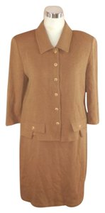 St. John St John Collection 3 Piece Skirt Suit Beige 10 M Santana 3/4 Sleeve