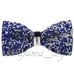 Rhinstone Royal Blue Crystal Diamond Style Pre Tied Bow Tie