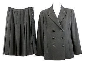 Ellen Tracy LINDA ALLARD ELLEN TRACY DOUBLE BREASTED BLACK WOOL SKIRT SUIT 2 4