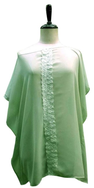 Lisa Nieves Chic Chiffon Lace Trim Casual Party Summer Flowy Lace Caftan Tunic