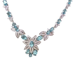 Other SALE!!! London Blue Topaz, White Topaz 925 Sterling Silver Necklace