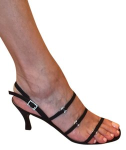 Stuart Weitzman Black Satin with crystal silver Formal