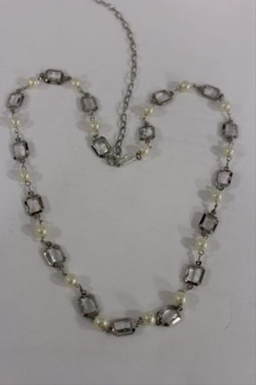 Other Women Silver Chain Necklace Fashion Metal Imitation Cream Pearl Clear Beads