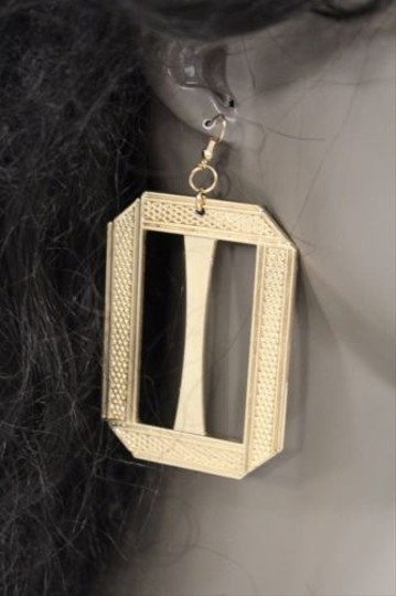 Other Women Gold Square Dangle Long Earrings Set Fashion Metal Cut Out Plate Hook