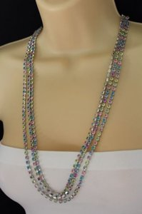 Women Silver Strands Layered Necklace Metal Fashion Colorful Rhinestones