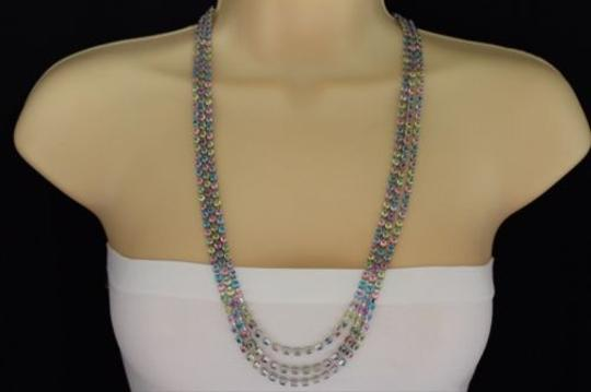 Other Women Silver Strands Layered Necklace Fashion Colorful Rhinestones