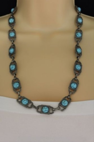 Other Women Antique Silver Metal Necklace Turquoise Blue Round Bead