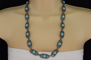 Other Women Antique Silver Square Fashion Metal Necklace Turquoise Blue Round Bead