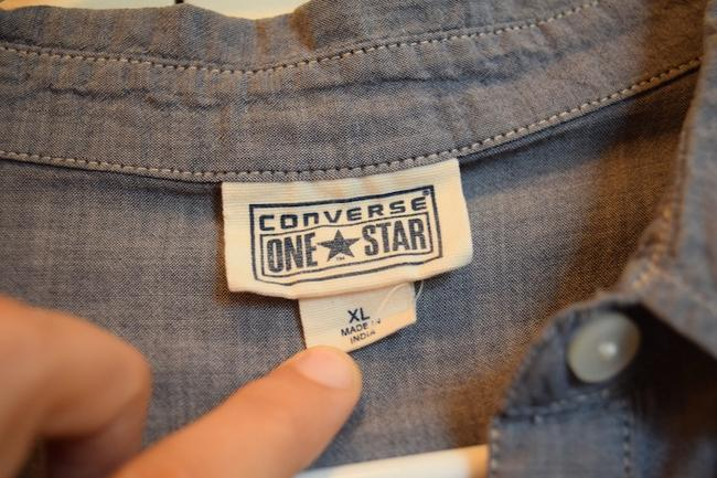 Converse Lightweight Chambray Button Classic Goes With Everything Staple Collared Collar Button Down Shirt Blue