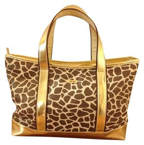 Perlina Leather Tote in Metallic Gold/Brown/Beige Animal Print