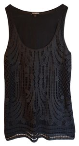 Express Funky Sparkly Overlay Tank Top Black