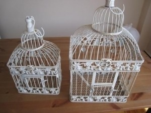 White Set Of 2 Bird Cages - Envelope Holde