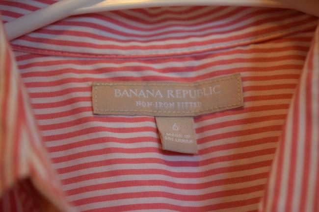 Banana Republic Perfect Club Country Club Golf Tennis Pool Fit Fitted White And White & White Pinstripe Non-iron No-iron Sleeveless Button Down Shirt Pink